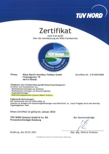 WHG Zulassung der Klaus Martin Hochbau-Tiefbau GmbH