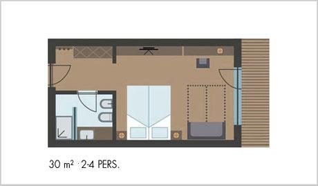 Mappa camera Alpin Superior - Garni Hotel Clara B&B Riscone / Plan de Corones / Cron4