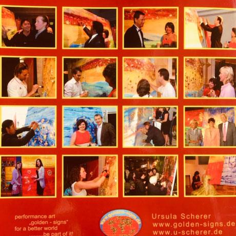 """performance art """"golden-signs"""" for a better world, be part of it!   by Ursula Scherer /  New address: ursula-scherer.com"""