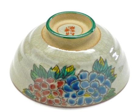 九谷焼通販 おしゃれ ギフト 飯碗 ご飯茶碗 ちゃわん 大 色絵牡丹 花柄 下塗り