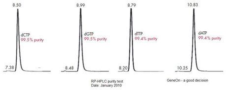 Reinheitentabelle  dNTP Mix / Nukleotid Mix