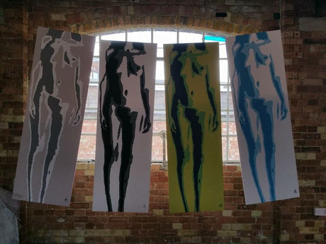 """""""#tits""""; a group of four layered stencils , acrylic on board each measuring 183 x 60 cm"""
