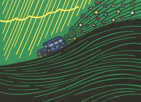 リンク画像:イラスト作品「続・黄色い雨が降りそそぐ (2016年個展より)」