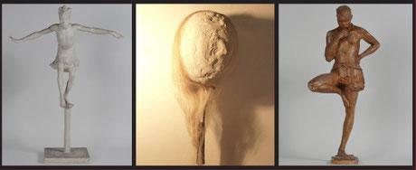Anna Quinquaud, Danse La Papanga et Archer coniagui, Musée des beaux-arts, Brest métropole océane. © ADAGP, Paris, 2014 / Florian Fouché, Têtes de Boules (détail) terre, plâtre, raquette de tennis, crin de cheval, 2013. © Passerelle CAC.