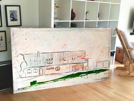 Haus skizziert auf Gemälde