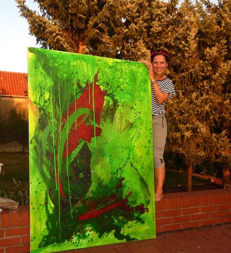 grünes gemaltes bild
