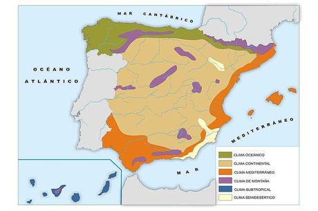 Geografía 3º ESO. Proyecto CIDEAD. Mapa de los climas de España