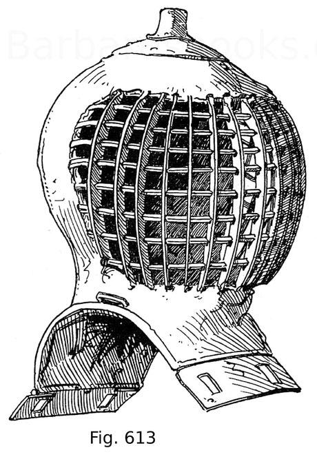 Fig. 613. Turnierhelm für das Kolbenturnier zu Ross, ähnlich dem vorigen, mit röhrenartiger Vorrichtung zur Befestigung des Zimiers. Um 1480.