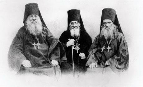Оптинские старцы: прп. Антоний, прп. Моисей и прп. Макарий.