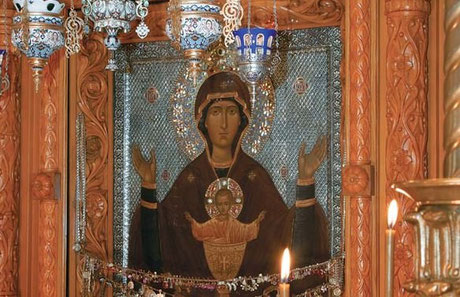 """Икона Божией Матери """"Неупиваемая Чаша"""" в Высоцком мужском монастыре  г. Серпухова."""