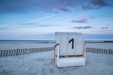 Strandkorb in Schillig im Wangerland an der Nordsee