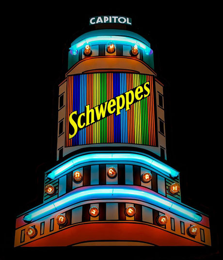 Cartel luminoso  Schweppes edificio carrión Madrid Gran Vita Rotulo Luminoso