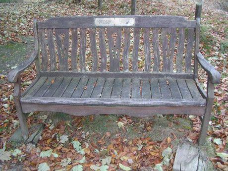 In 2013 the bench was in such poor condition that it was replaced, by this stone marker and a small bronze plate.