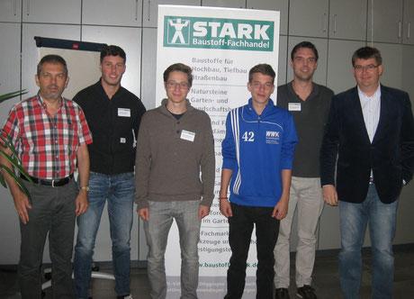 von links nach rechts: Martin Kienzler (Personalleiter), christian Pfeifer, Tobias Thannheiser, Lorenz Warmuth, Jan-Marc Bohnenstengel, Christian Stark (GF)