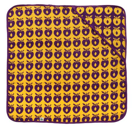 Smafolk Baby Handtuch mit Kapuze Aepfel Gelb Lila