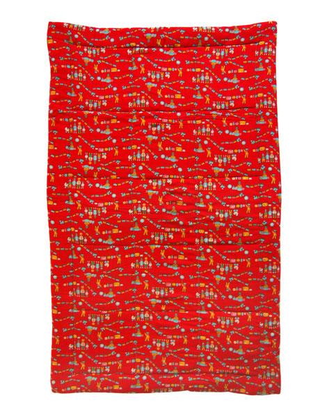 VEB Baby Decke in Rot mit Eisenbahnmuster