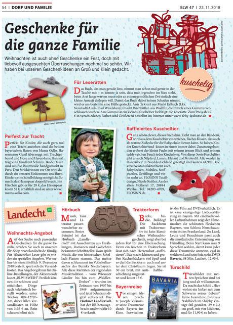 Fuchskissen, Weihnachtsgeschenk, Bayerisches Landwirtschaftliches Wochenblatt
