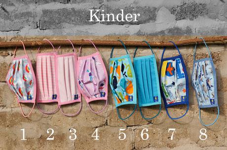 Kindermasken Gummiband Nasenbügel Einhorn Regenbogen Fische Fahrzeuge