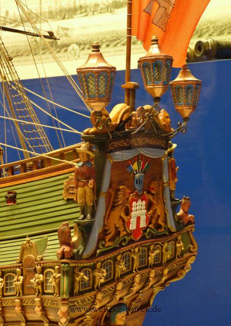 """Einzelheiten vom Modellschiff """"Wappen von Hamburg"""""""