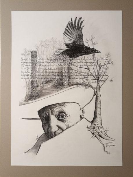 sam wolf_zeichnung_von simone müller_zur kurzen Erzählung_das Galgenmännlein_mann_portrait