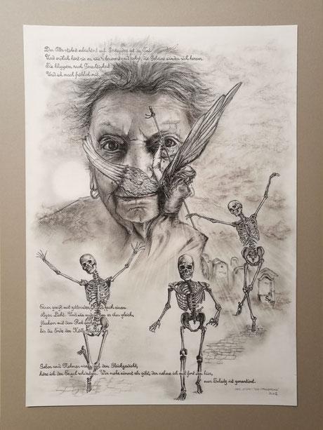 sam wolf_zeichnung_von simone müller_zur kurzen Erzählung_die Offenbarung_frau_portrait