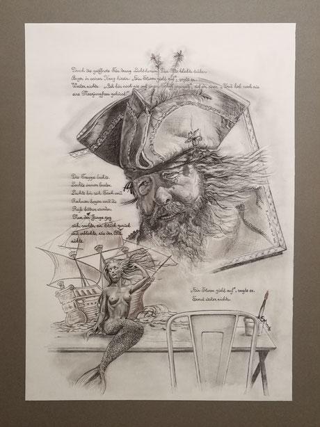 sam wolf_zeichnung_von simone müller_zur kurzen Erzählung_der sturm_pirat_portrait