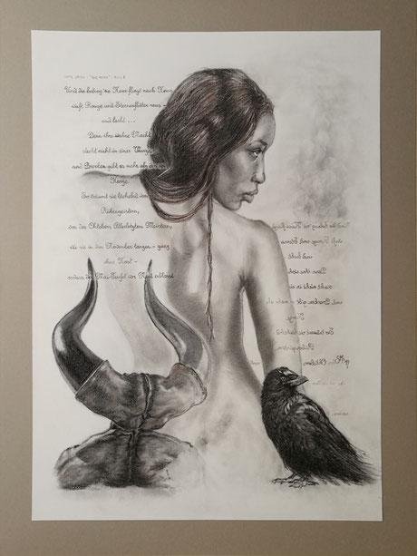 sam wolf_zeichnung_von simone müller_zu dem Gedicht_die hexe_frau_portrait