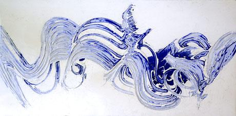 Drift in Blau I  (100X50cm)  /  2014