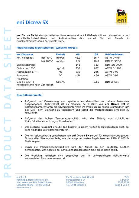 Bild: Produktdatenblatt eni / agip Dicrea SX 68 Datenblatt Seite 1
