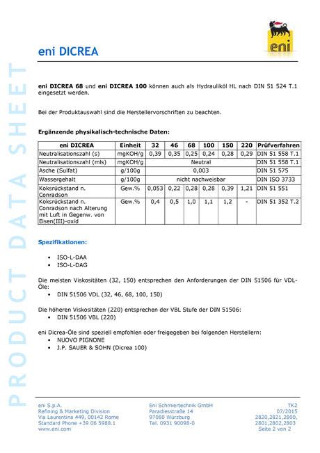 Bild: Produktdatenblatt eni / agip Dicrea 32-220 Datenblatt seite2