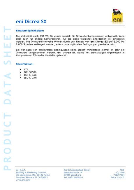 Bild: Produktdatenblatt eni / agip Dicrea SX 46 Datenblatt Seite 2
