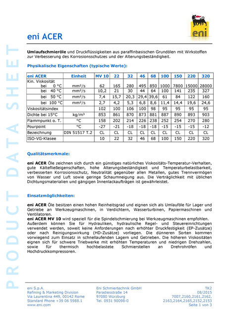 Bild: Produktdatenblatt eni / agip acer 10-320 Umlauföl Datenblatt seite1