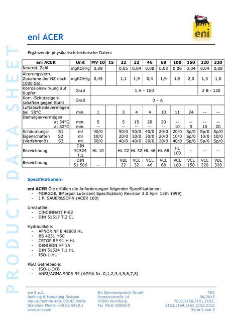 Bild: Produktdatenblatt eni / agip acer 10-320 Umlauföl Datenblatt seite2