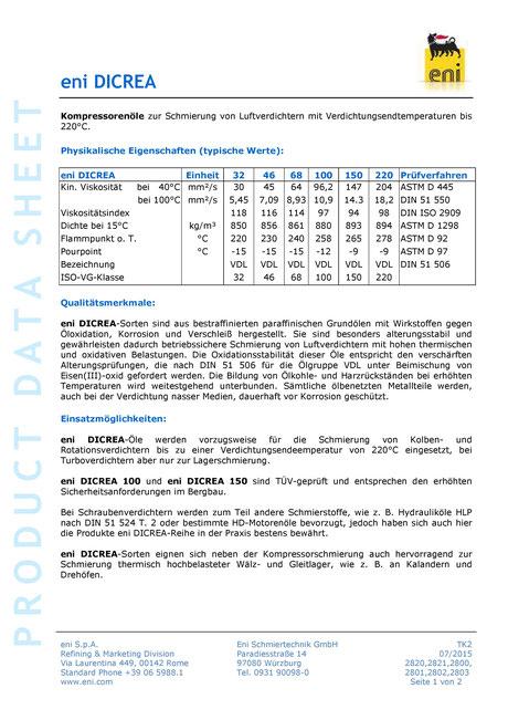 Bild: Produktdatenblatt eni / agip Dicrea 32-220 Datenblatt seite1