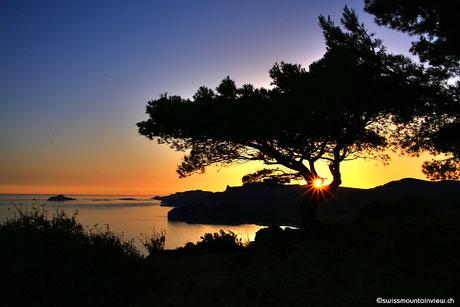 Sonnenuntergang auf der Route des Crêtes
