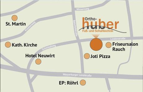 Innerörtliche Anfahrtskizze zu Ortho-Huber in Zorneding