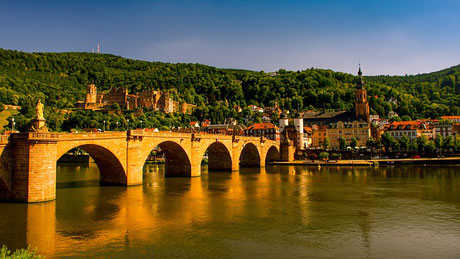 Heidelberg with Old Bridge and River Neckar