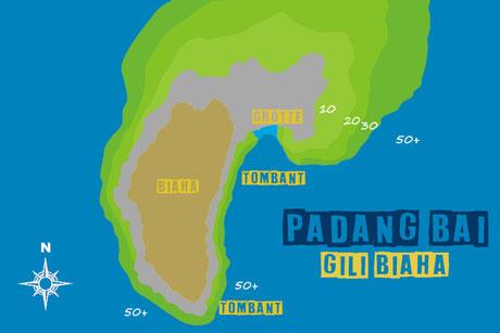 Carte du site de plongée de Gili Biaha à Padang Bai, Bali.