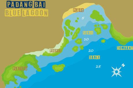 Carte du site de plongée de Blue lagoon à Padang Bai, Bali.