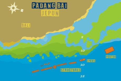 carte du site de Jepun à Padang Bai, Bali