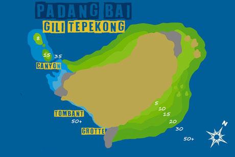 Carte du site de plongée de Gili Tepekong à Padang Bai, Bali.