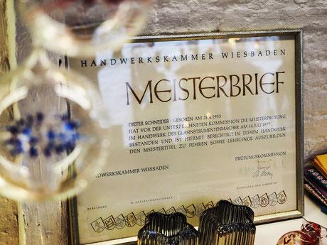 Meisterbrief des Glasbläsers