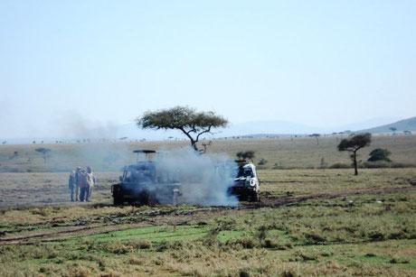 Qualmende Safari-Jeeps in der Savanne