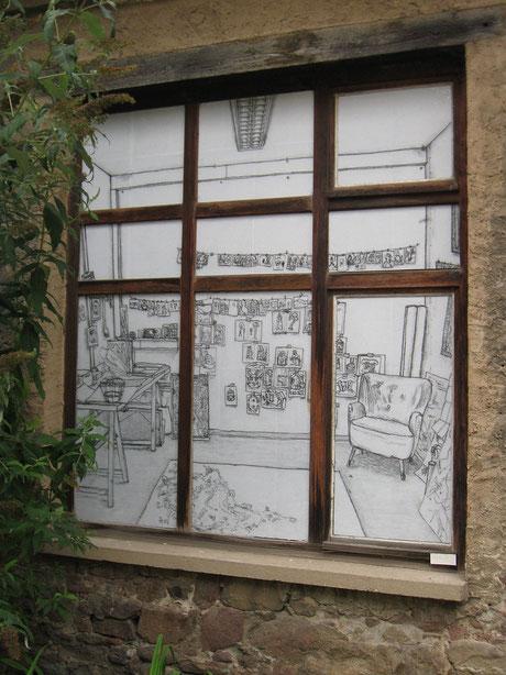 o.T. (Atelier III) . 2014 . Digitaldruck auf Papier, Kleister . 198 x 185 cm