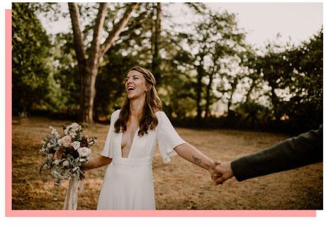 Photo de la mariée riant, représentant les formules d'organisation de mariage proposées par My Daydream Wedding, organisatrice de mariage à Lille et dans le Nord