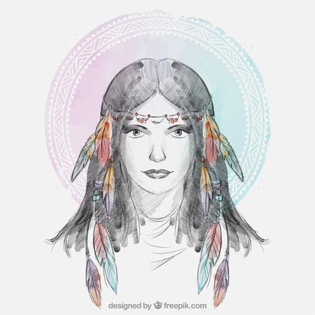 hippie, girl, mädchen, boho, bohemian, frau, blumenkind, indianerin, indianderfrau, federschmuck, haar