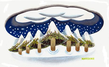 森に雪が降る