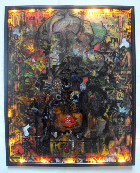 Techniques mixtes & transferts d'images sur verre, 40X50cm, 2015