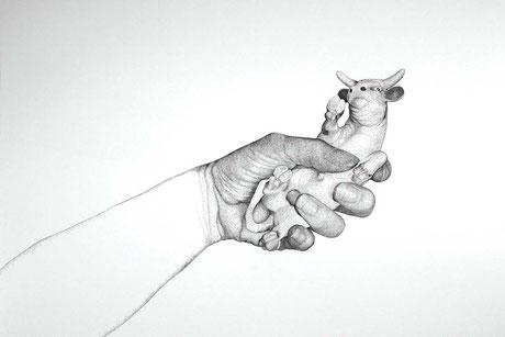 Hand und Stier, 2006. (Tuschestift auf Papier. 50 x 65 cm)