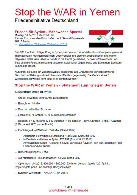 PDF-Download: Frieden für Syrien - Mahnwache Spezial Montag, 16.04.2018 ab 18:00 Uhr Pariser Platz - vor den Botschaften der USA und Frankreich 10117 Berlin
